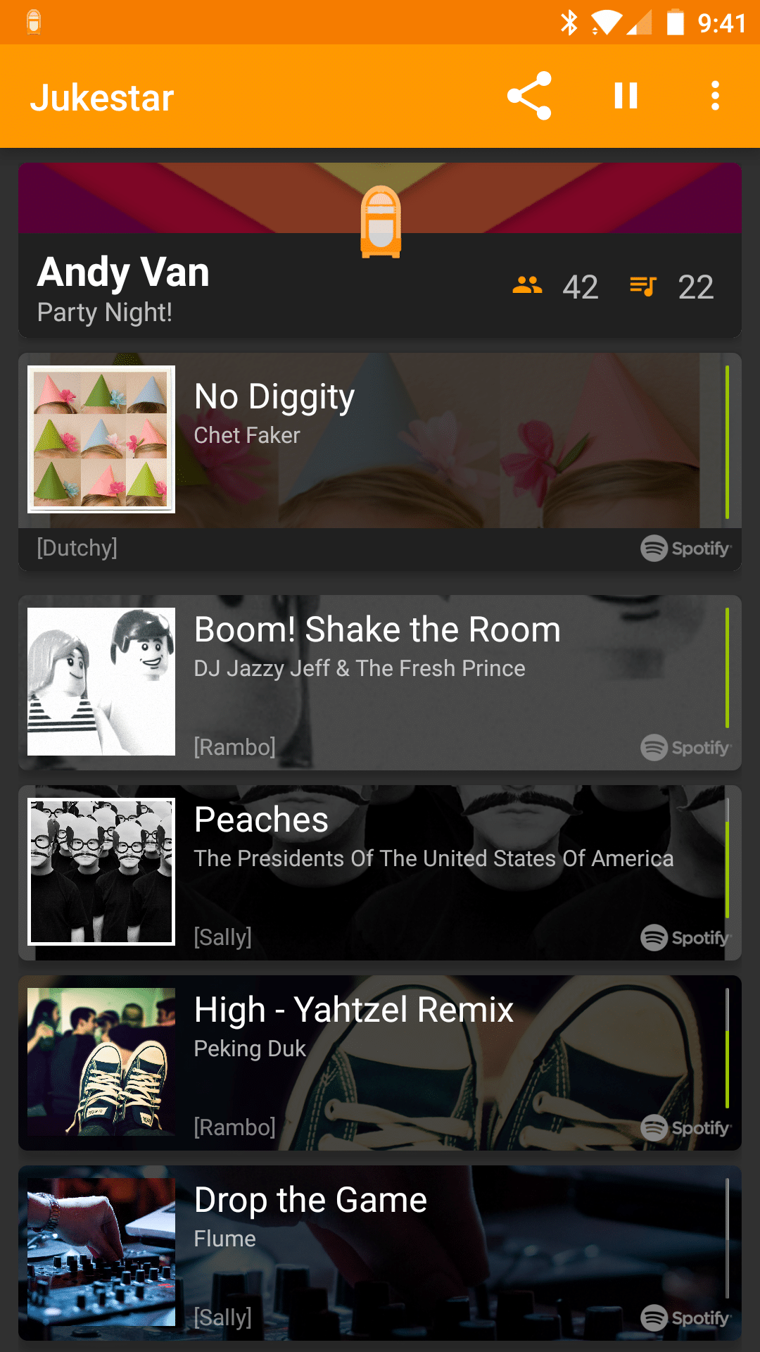 Android Spotify party DJ app - Create party music playlists