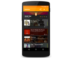 The social jukebox Jukestar host app for Android and iOS shows the current distributed queue with the voting status of all songs