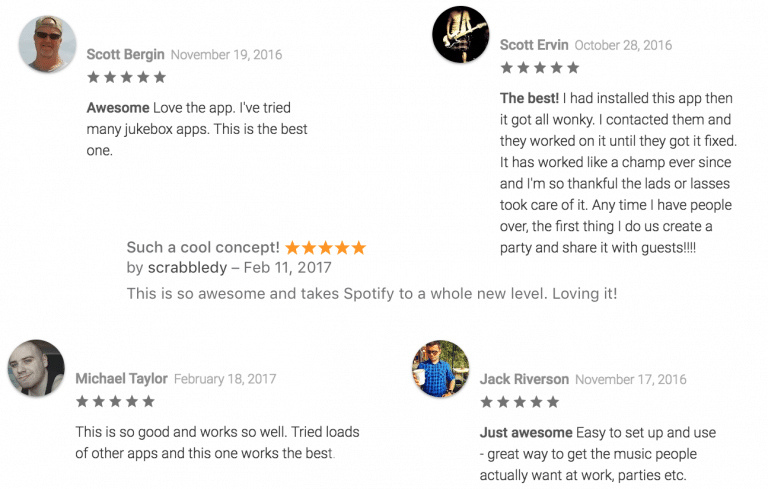 iTunes and Google Play store reviews for the Jukestar party music app